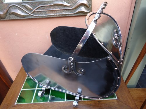 Arts & Crafts steel coal bucket
