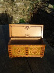 Arts & Crafts stencilled and painted casket