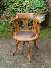 Arts & Crafts swivel desk chair for Liberty