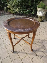 Arts & Crafts table with copper tray inset