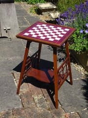 Arts & Crafts tiled top chess table