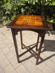 Arts & Crafts tiled top plant stand