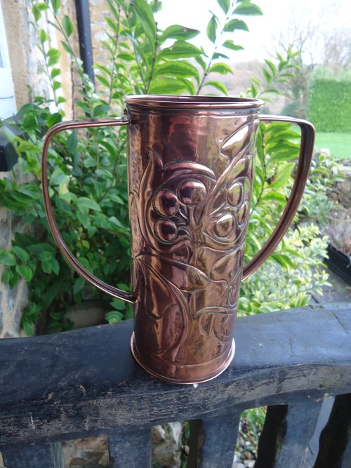 Arts & Crafts two handled copper vase. Williams