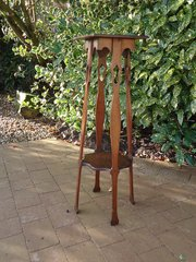Arts & Crafts two tiered oak plant stand