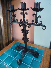 Arts & Crafts wrought iron candelabra. Carne