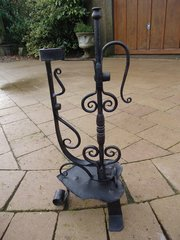 Arts & Crafts wrought iron candle holder