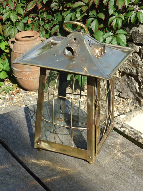 Large Arts & Crafts Brass hanging lantern