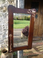 Arts  & Crafts mirror with copper flowers