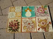Collection of six Edwardian tiles