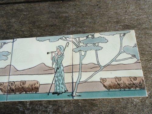 Delightful Shepherdess Arts & Crafts tile panel