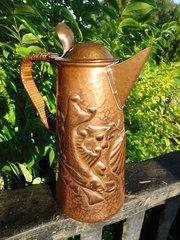 Early  Arts & Crafts Newlyn copper lidded jug