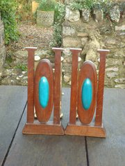 Fabulous Arts & Crafts Andirons with cabochons