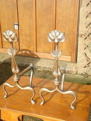 Fine quality Arts & Crafts Bronze Andirons
