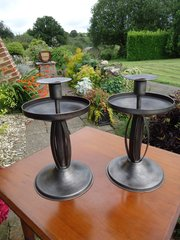 Good pair of Arts & Crafts steel candlesticks