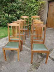 Good set of 8 Shapland & Petter oak dining chairs