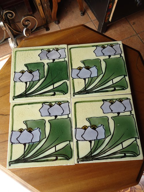 Gorgeous set of four Arts & Crafts tiles
