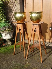 Impressive pair of Arts & Crafts oak plant stands