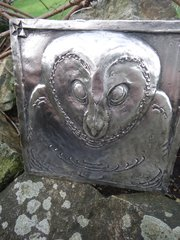 Interesting Arts & Crafts Pewter owl plaque