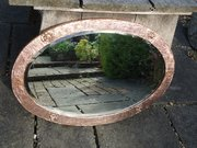 Large Arts & Crafts Oval copper mirror with roses
