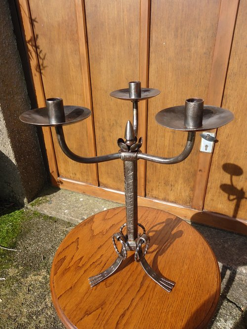 Large Arts & Crafts Steel Candleholder