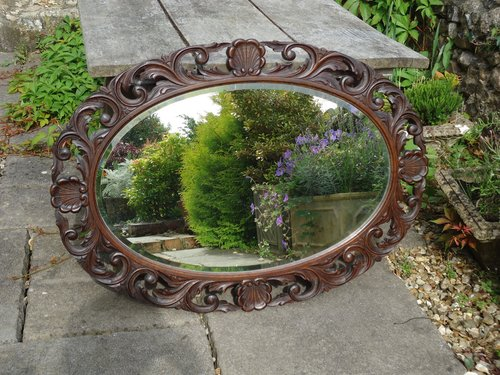Large Arts & Crafts carved oak mirror