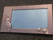Large Arts & Crafts copper goose girl mirror