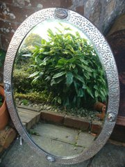 Large Arts & Crafts plated copper mirror