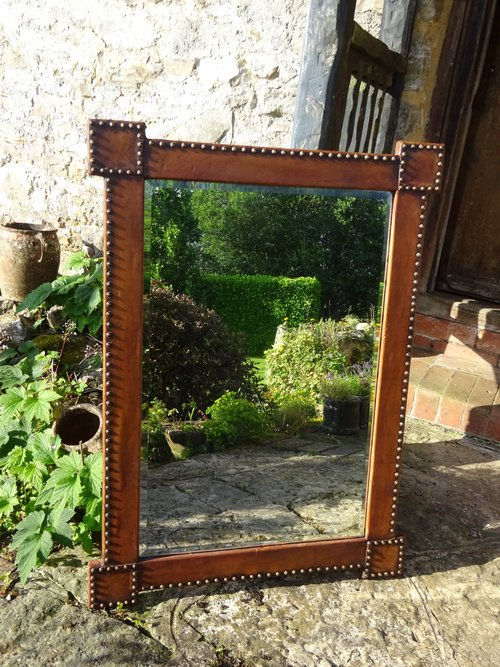 Large Arts & Crafts studded leather mirror