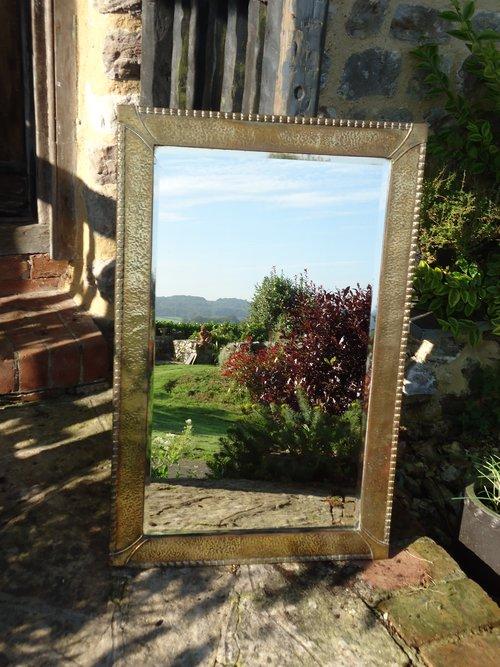 Large Brass Bevelled edged brass mirror
