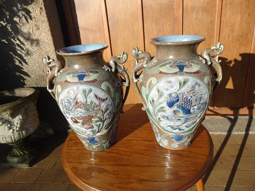 Large pair of Barum Art vases  A.Lauder