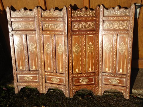 Lovely Anglo Indian inlaid four fold screen
