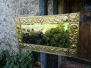 Lovely Arts & Crafts Brass mirror. Overmantle
