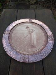 Lovely Arts & Crafts copper framed print -  Flower