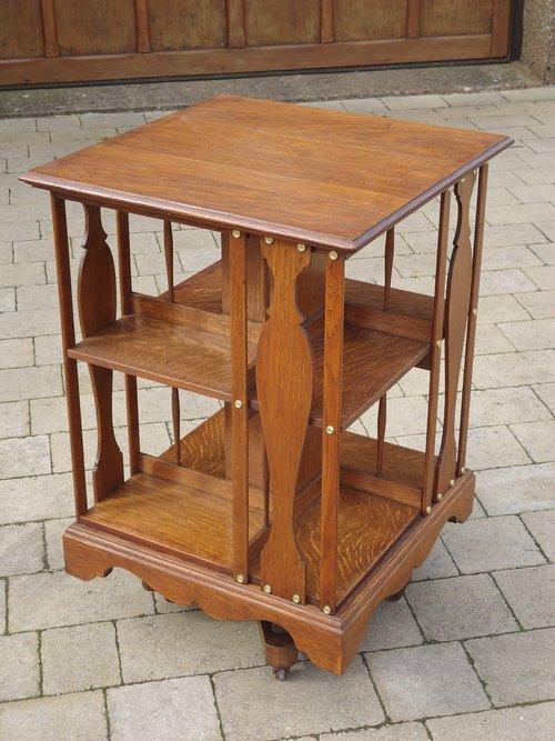 Lovely Arts & Crafts oak revolving bookcase.