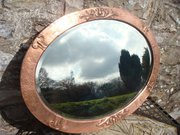 Lovely Oval Copper Arts & Crafts Mirror
