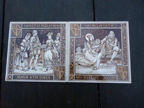 Lovely Pair of  Waverley Novels Minton tiles