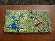 Lovely pair of Arts & Crafts Majolica Tiles