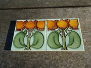 Lovely pair of Arts & Crafts tube lined tiles