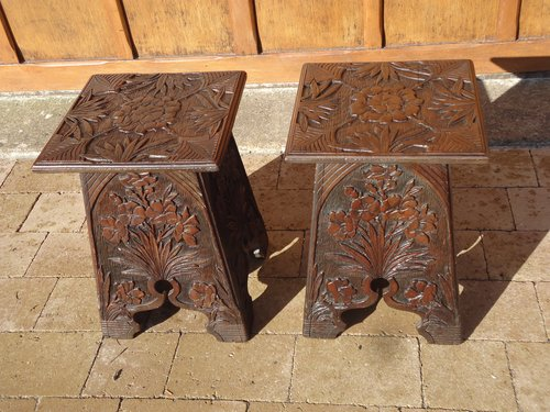 Lovely pair of  small  Arts & Crafts carved tables