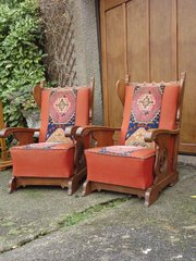 Lovely pair of upholstered Arm chairs