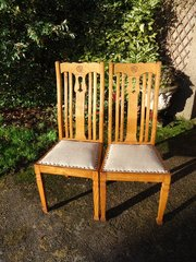 Set of 6 Arts & Crafts golden oak dining chairs