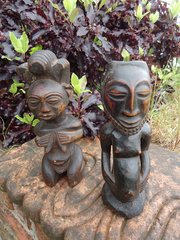 Pair of African Luba tribe carved figures