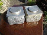 Pair of Archibald Knox design biscuit tins