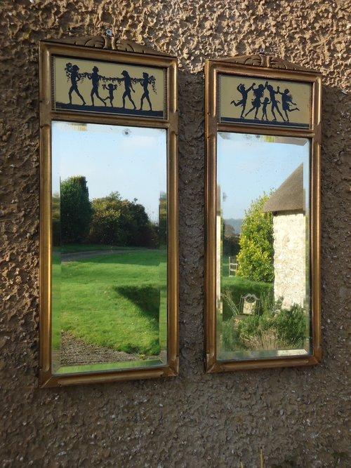 Pair of Art Nouveau Sillhouettes Mirrors