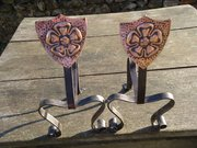 Pair of Arts & Crafts Andirons with copper shield