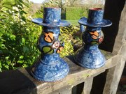 Pair of Arts & Crafts Torquay pottery candlesicks
