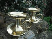 Pair of Arts & Crafts bfass candle holders