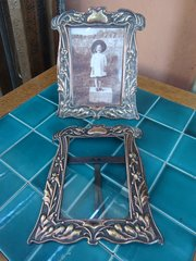 Pair of Arts & Crafts brass photo frames