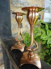 Pair of Arts & Crafts candlesticks .Tonks