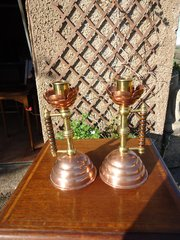 Pair of Arts & Crafts copper candleholders.